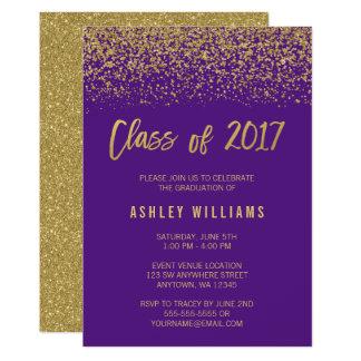 Modern Purple Faux Gold Glitter 2017 Graduation Card