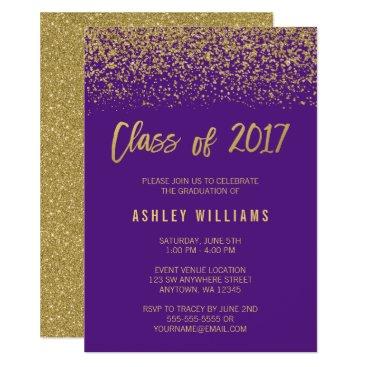 Beach Themed Modern Purple Faux Gold Glitter 2017 Graduation Card