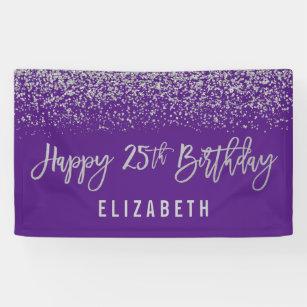 Modern Purple Faux Silver Glitter 25th Birthday Banner