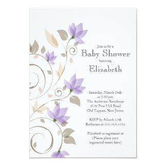 Modern Purple Floral Boy Baby Shower Invitation