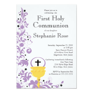 Modern Purple Floral First Holy Communion 5x7 Paper Invitation Card