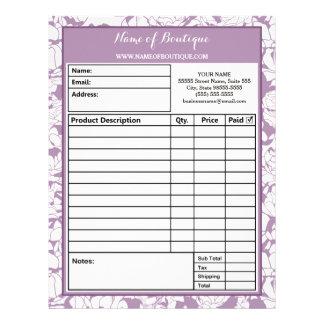Modern Purple Floral Girly Beauty Salon Order Form Letterhead