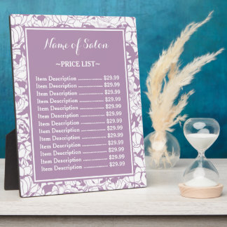 Modern Purple Floral Girly Beauty Salon Price List Display Plaques