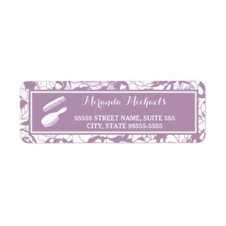 Modern Purple Floral Girly Hair and Beauty Salon Return Address Label