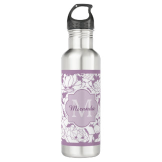 Modern Purple Floral Girly Monogram With Name Water Bottle