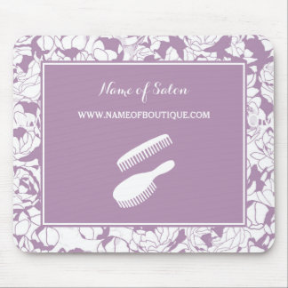 Modern Purple Floral Hair and Beauty Boutique Mouse Pad