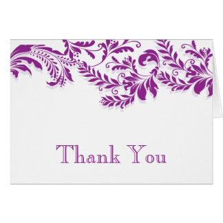 Modern Purple Floral Leaf Flourish Thank You Note Card
