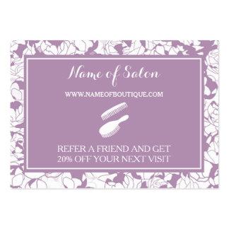 Modern Purple Floral Salon Friend Referral Coupon Large Business Card