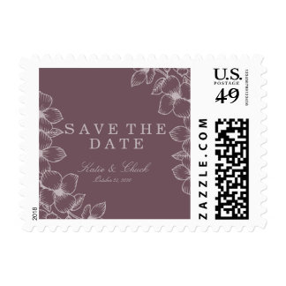 Modern Purple Floral Save the Date Postage