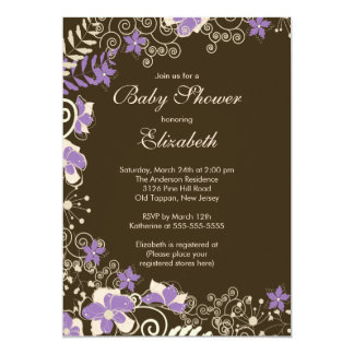 "Modern Purple Floral Spring Baby Shower Invitation 5"" X 7"" Invitation Card"