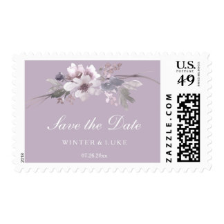 Modern Purple Floral Watercolor Save the date Postage