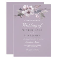 Modern Purple Floral Watercolor Wedding Invitation