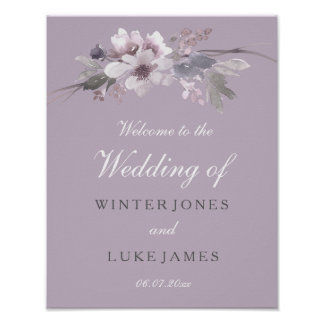 Modern Purple Floral Watercolor Wedding Poster