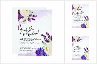 Modern Purple Floral Wedding Suite