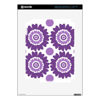 Modern Purple Flowers And Polka Dots Decals For iPad 3