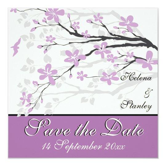 Modern purple flowers wedding Save the Date Card