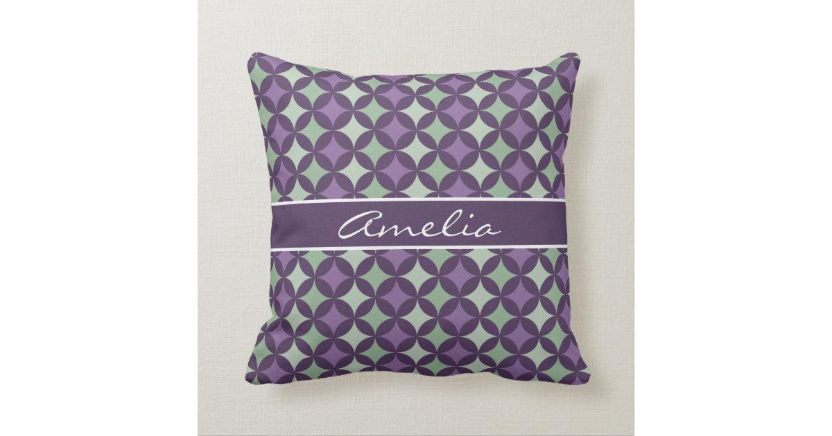 Modern Purple Throw Pillow : Modern Purple Geometric Circle Pattern Monogram Throw Pillow Zazzle