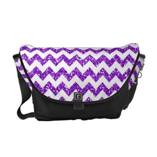 Modern Purple Glitter Chevron Zig Bag Tote Purse Courier Bags