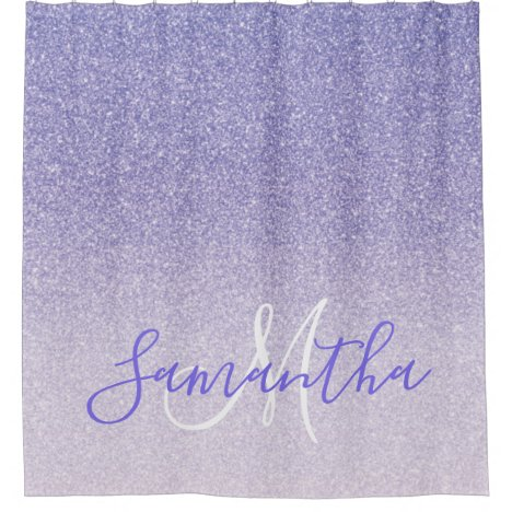 Modern Purple Glitter Sparkles Personalized Name Shower Curtain