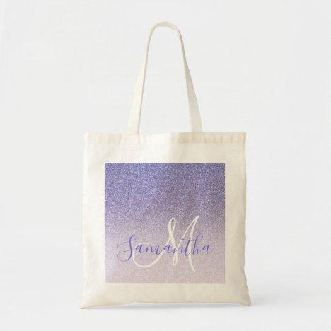Modern Purple Glitter Sparkles Personalized Name Tote Bag