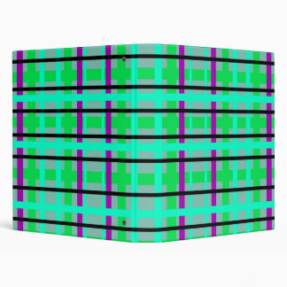 Modern purple gray and green plaid binder