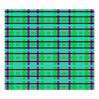 Modern purple gray and green plaid poster