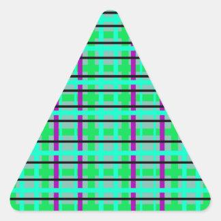 Modern purple gray and green plaid triangle sticker
