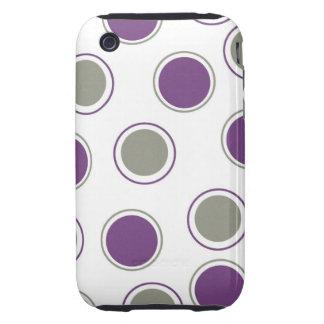 Modern Purple Gray Polka Dots Concentric Circles Tough iPhone 3 Case