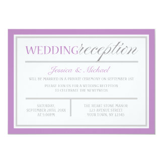 Modern Purple & Gray Wedding Reception Invitations