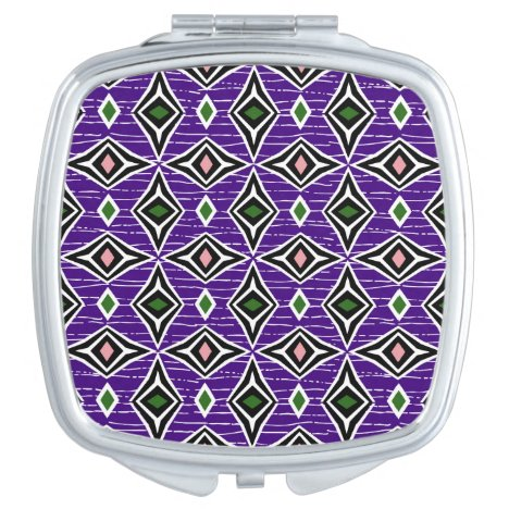 Modern purple green chic tribal aztec design vanity mirror