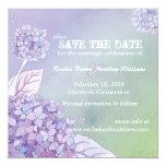Modern Purple Green Hydrangea Floral Save the Date Card
