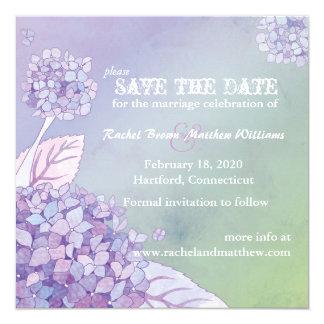 Modern Purple Green Hydrangea Floral Save the Date 5.25x5.25 Square Paper Invitation Card