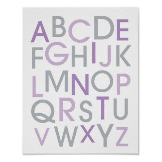 Modern Purple & Grey Alphabet Wall Art Print