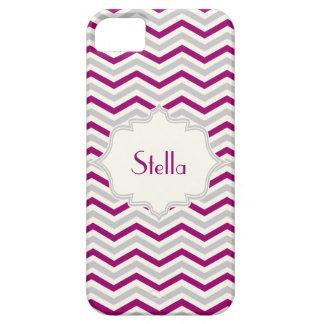 Modern purple, grey, ivory chevron custom iPhone SE/5/5s case
