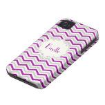 Modern purple, grey, ivory chevron pattern custom iPhone 4 cases
