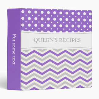 Modern purple, grey, white chevron & polka dot 3 ring binder