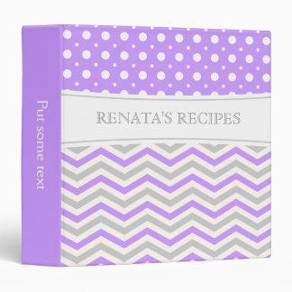 Modern purple, grey, white chevron & polka dot vinyl binder