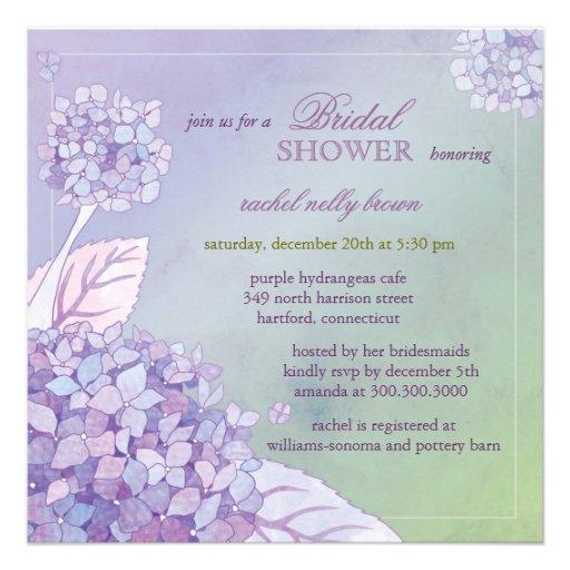 Modern purple hydrangeas floral bridal shower for Modern bridal shower invitations
