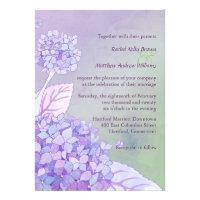 Modern Purple Hydrangeas Formal Floral Wedding Custom Announcement