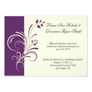 Modern Purple Ivory Cream Floral Swirls Post Weddi Card