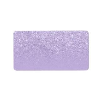 Modern purple lavender glitter ombre color block 2 label
