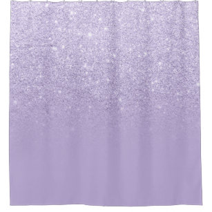 Modern Purple Lavender Glitter Ombre Color Block Shower Curtain