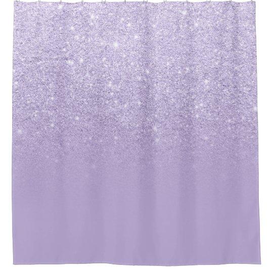 Modern Purple Lavender Glitter Ombre Color Block Shower Curtain