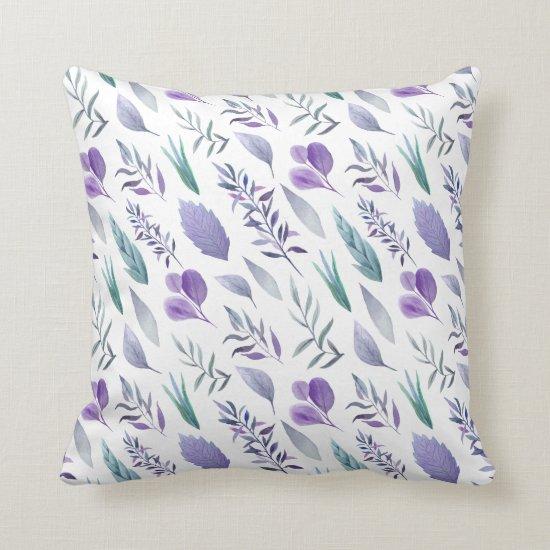 Modern Purple Lavender Teal Green Leaves | Throw Pillow