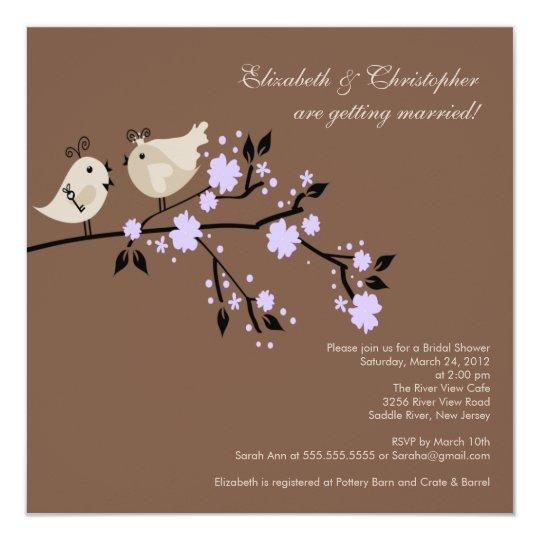 Modern Purple Love Birds Bridal Shower Invitation