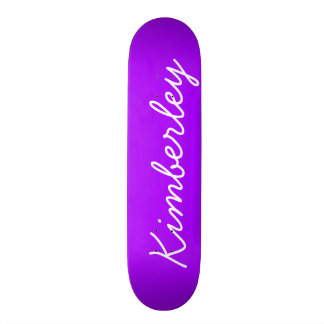 Modern Purple Neon Monogram Trendy Fashion Colors Skateboard