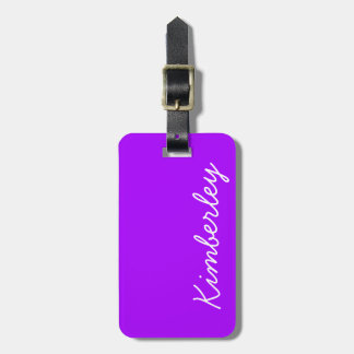 Modern Purple Neon Monogram Trendy Fashion Colors Tags For Bags