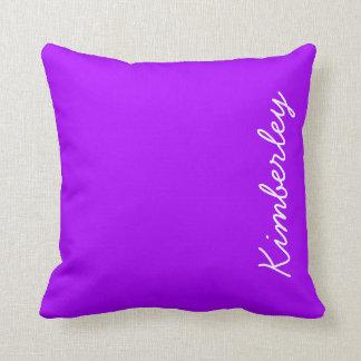 Modern Purple Neon Monogram Trendy Fashion Colors Throw Pillow