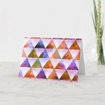 Modern Purple & Orange Geometric Triangle Design Card