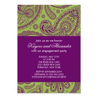 Modern Purple Paisley Engagement Party Invitations